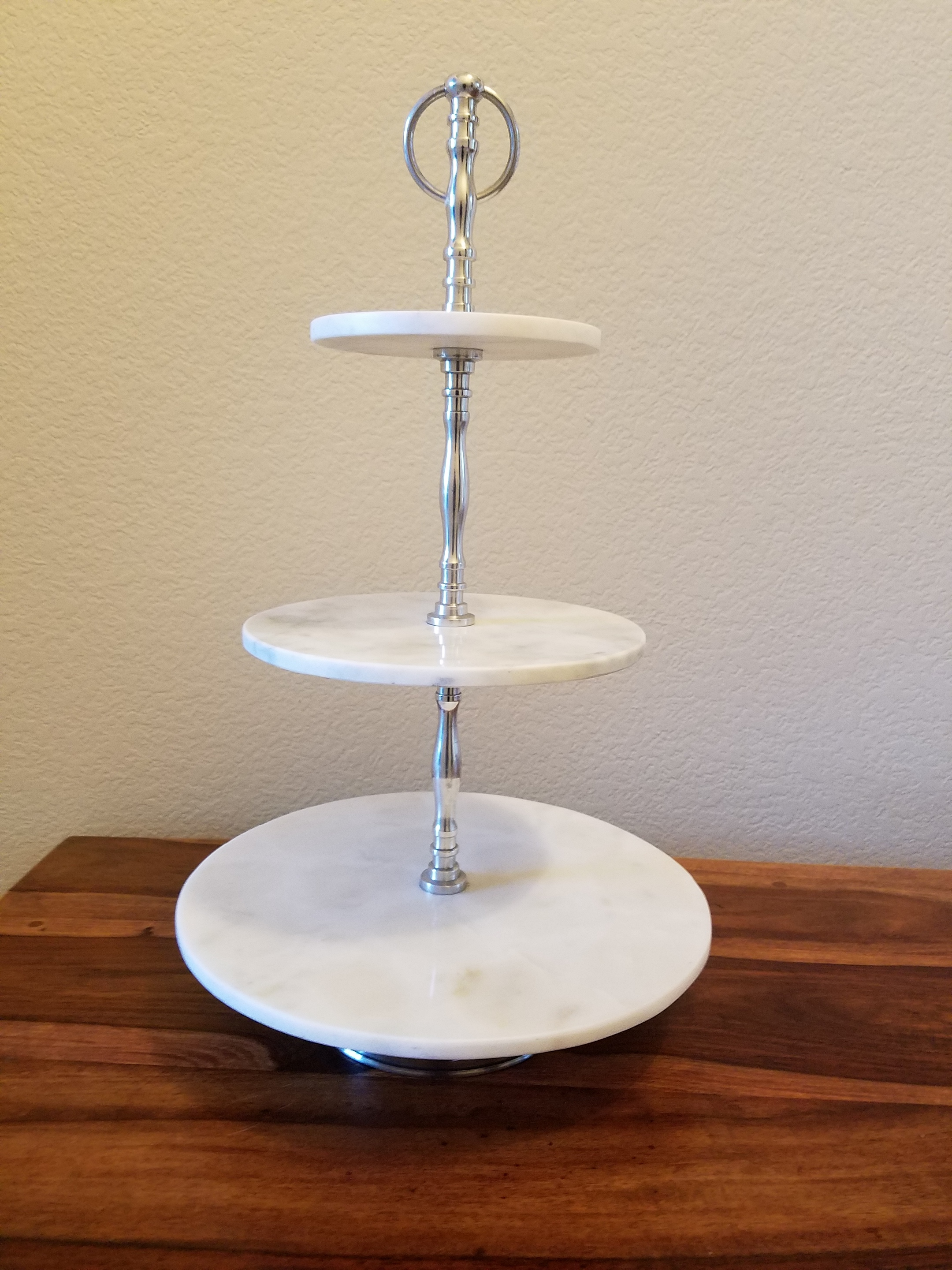 3 Tie Silver and Marble Stand